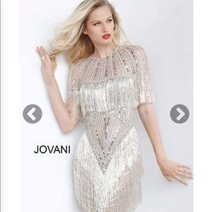 Grey Silver Sheer Neckline Embellished Short Dress